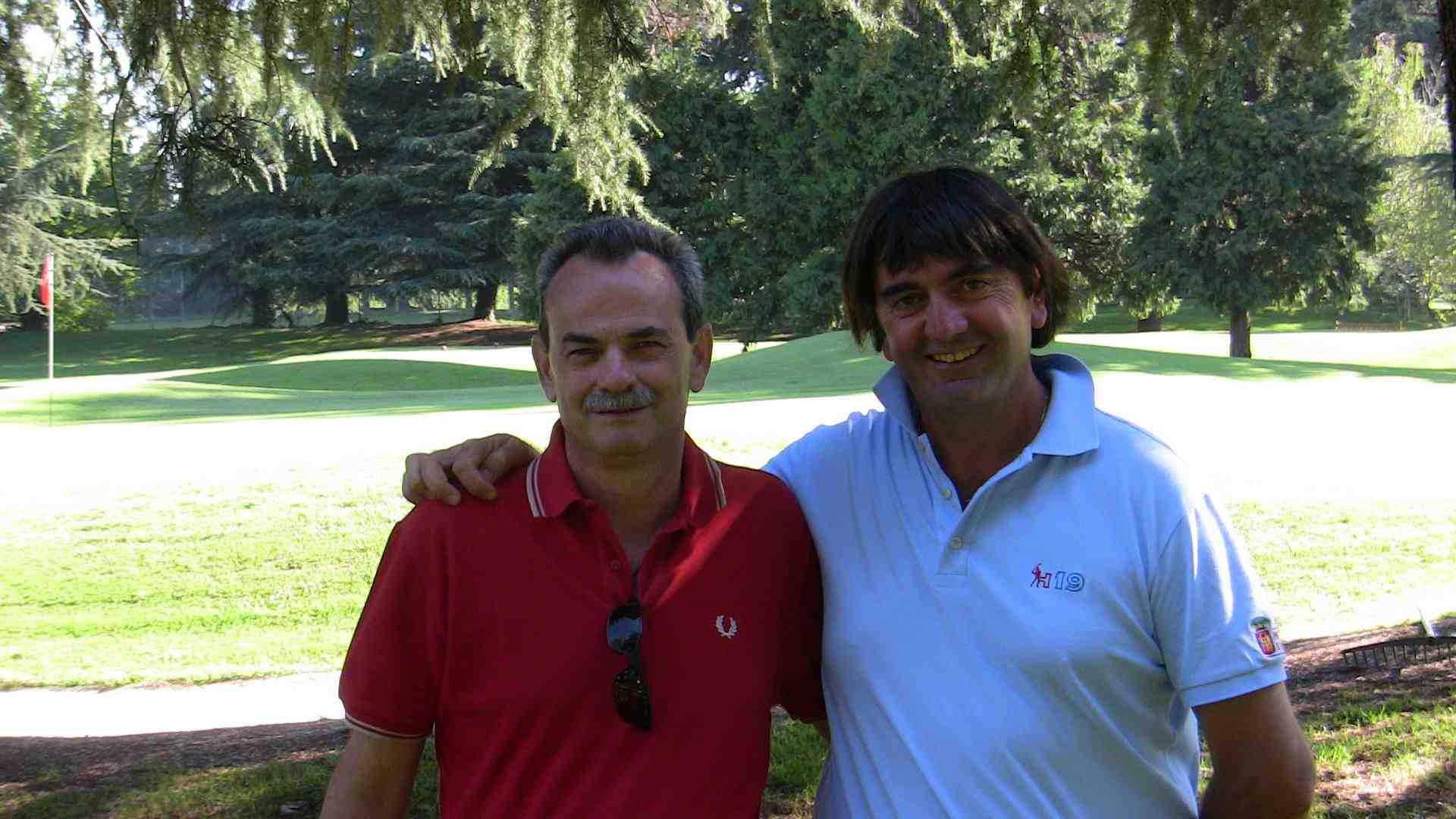 Con il maestro Andrea Calcari durante una giornata di lavoro congiunto fatto in campo in campo al Golf Country Club Molinetto