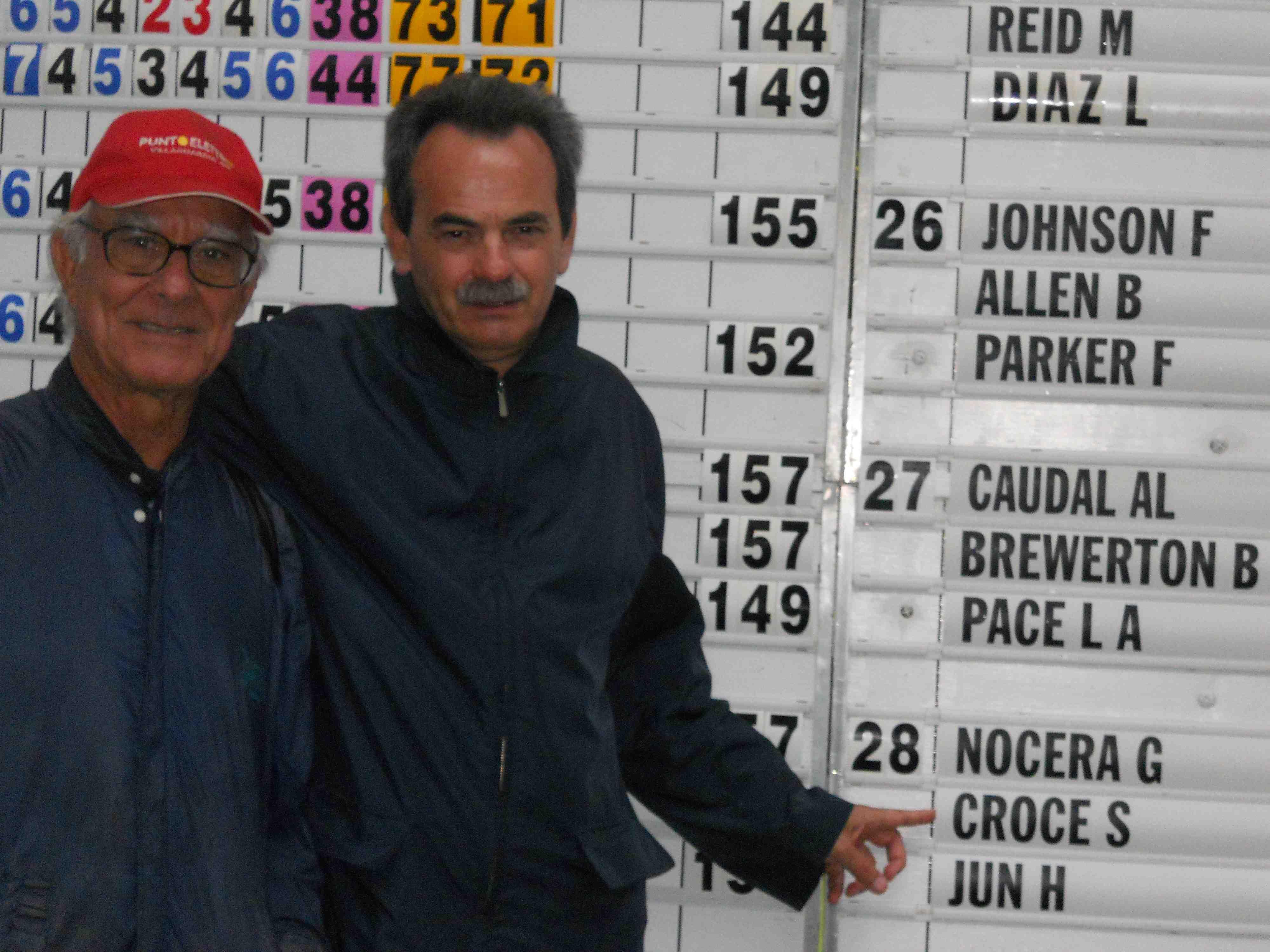 Con il famoso maestro di Golf Angelo Croce davanti allo score di una gara del Ladies European Tour