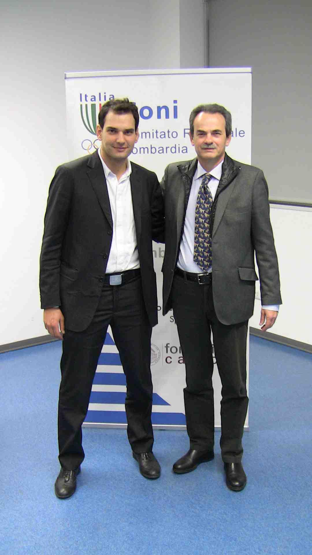 """Marco Riva e Armando Pintus alla presentazione del Workshop sul """"Coaching Sportivo"""" presso la Scuola del Coni"""
