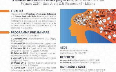Conferenze su Psicologia dello Sport al CONI Lombardia: I Lunedì di Psico & Sport
