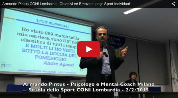 Conferenza al CONI Lombardia su: Obiettivi ed Emozioni negli Sport Individuali