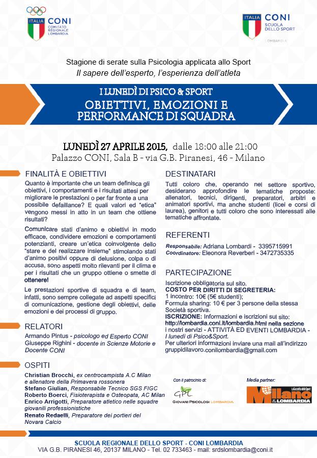 Psicologia dello Sport al CONI Lombardia: conferenza di Armando Pintus e Giuseppe Righini su: Obiettivi, emozioni e performance di squadra